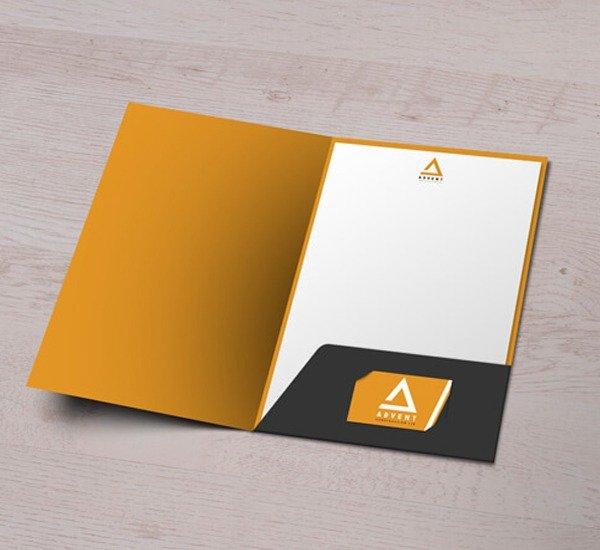 glued presentation folder
